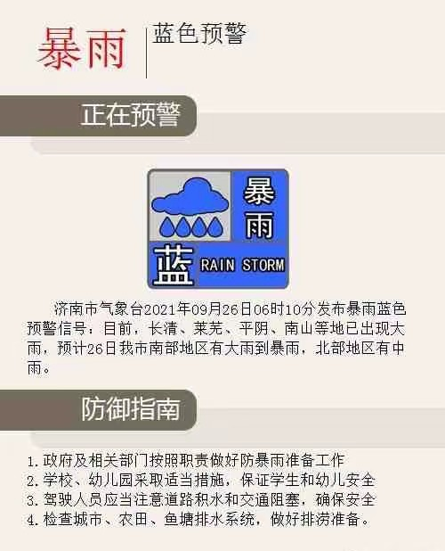 济南市发布暴雨蓝色预警!今日南部大到暴雨北部有中雨